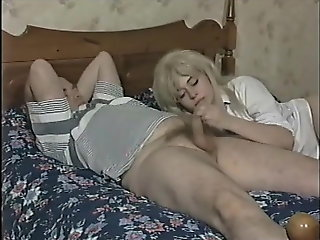 blowjob, blonde, brunette