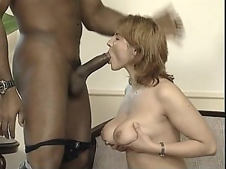 interracial, redhead, titty fucking